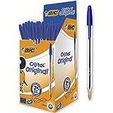 BIC Cristal Bolígrafos, Original, Óptimo para material escolar,Azul, Punta...