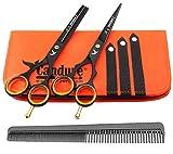 Candure - 5.5' tijeras de peluquería profesional - Deep Negro - tijeras de...