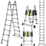 Meditool 5M Escalera Plegable Aluminio,2,5M+2,5M Escalera Telescópica, Escalera...